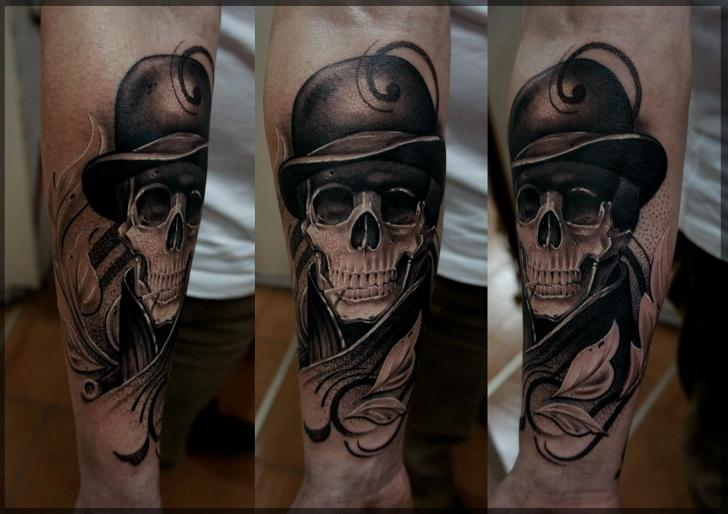 Arm Fantasy Skull Tattoo by Pavel Roch