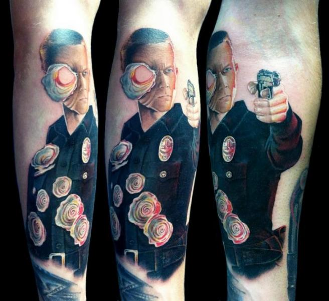 Arm fantasy portrait terminator tattoo by david corden tattoos for Terminator face tattoo