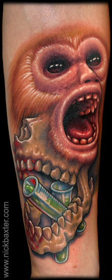 Arm realistic monkey tattoo by nick baxter for Monkey face tattoo