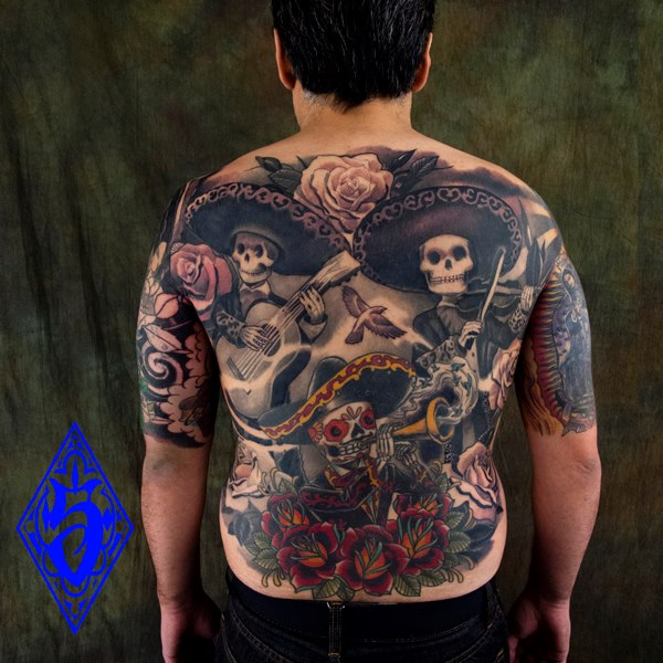 mexikanischer totenkopf r cken skeleton tattoo von plurabella. Black Bedroom Furniture Sets. Home Design Ideas
