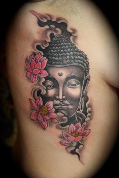 side buddha religious tattoo by mito tattoo. Black Bedroom Furniture Sets. Home Design Ideas