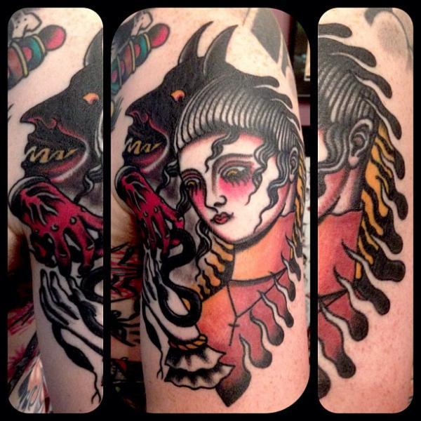 Old school women devil tattoo by forever true tattoo for Old school female tattoos