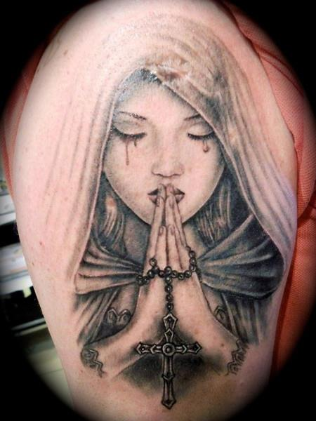 praying hands religious madonna tattoo by tattoo helbeck. Black Bedroom Furniture Sets. Home Design Ideas