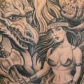 Fantasy Women Back Dragon tattoo by Chalice Tattoo