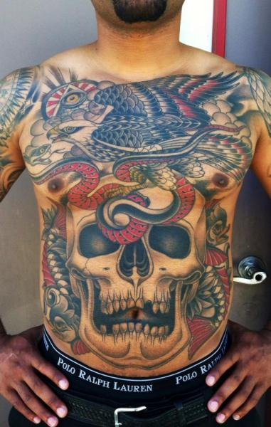Snake old school skull back eagle belly tattoo by chalice for Skull and eagle tattoo