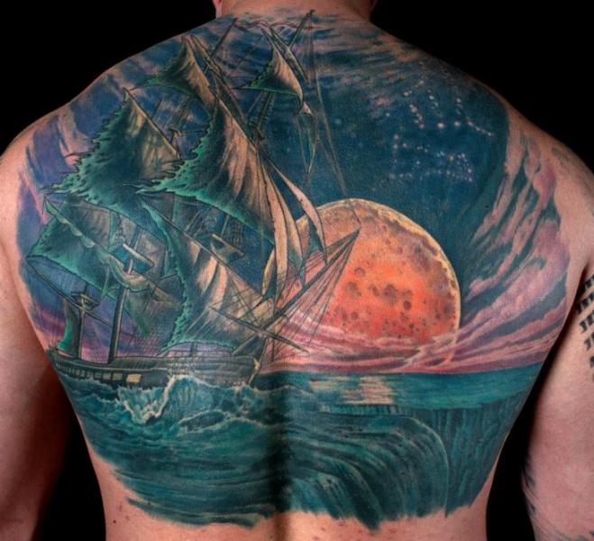 realistic back galleon moon tattoo by dead god tattoo. Black Bedroom Furniture Sets. Home Design Ideas