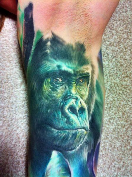 arm realistic gorilla tattoo by restless soul tattoo. Black Bedroom Furniture Sets. Home Design Ideas