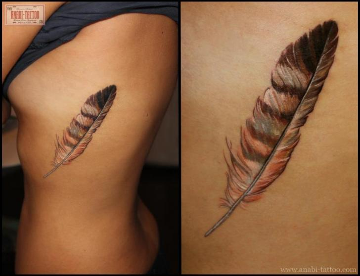 realistic feather side tattoo by anabi tattoo. Black Bedroom Furniture Sets. Home Design Ideas