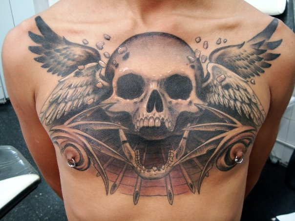 Chest Skull Wings Tattoo By Javier