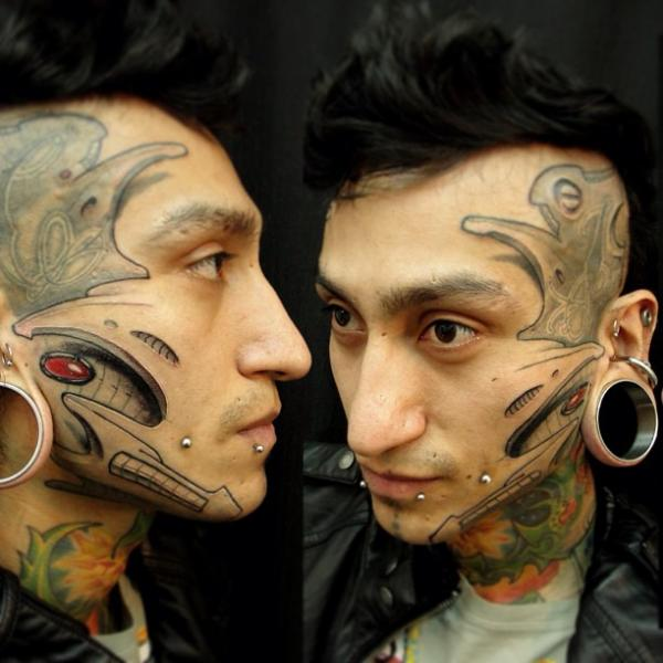 Biomechanical Face Head Tattoo By Javier Tattoo