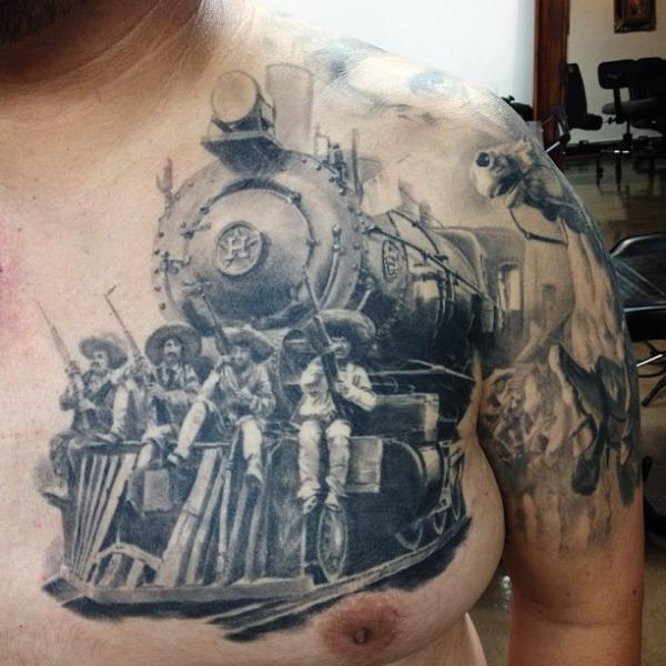 realistic chest train tattoo by carlos torres. Black Bedroom Furniture Sets. Home Design Ideas