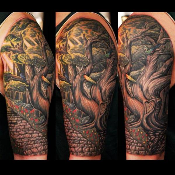 Shoulder realistic tree wall tattoo by logan aguilar for Realistic tree tattoos