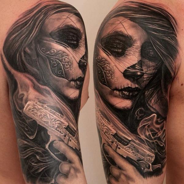 arm mexikanischer totenkopf tattoo von boris tattoo. Black Bedroom Furniture Sets. Home Design Ideas