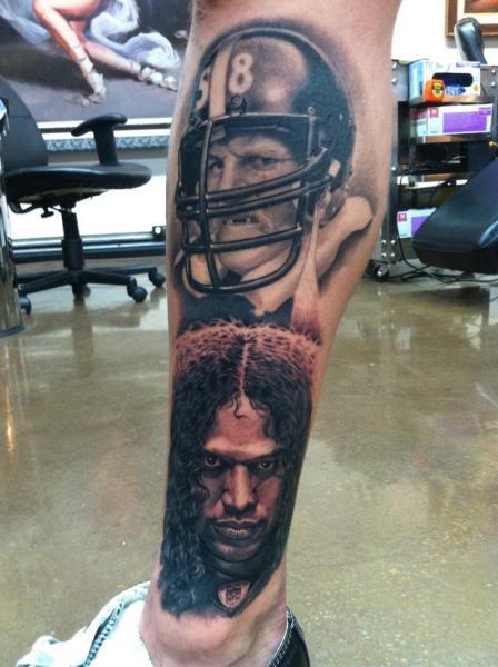 Portrait Realistic Leg Tattoo By Josh Duffy Tattoo