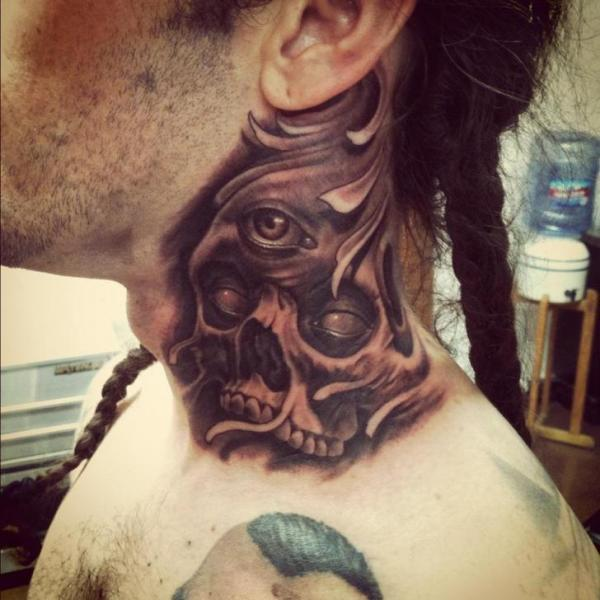 Fantasy skull eye neck tattoo by josh duffy tattoo for Skull neck tattoos