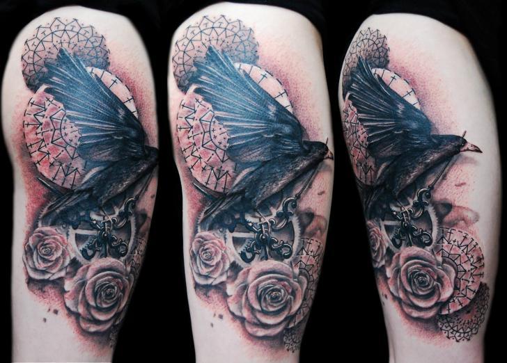 schulter blumen kr hen 3d tattoo von ink ognito. Black Bedroom Furniture Sets. Home Design Ideas