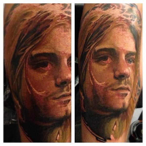 arm realistic kurt cobain tattoo by reinkarnation tattoos