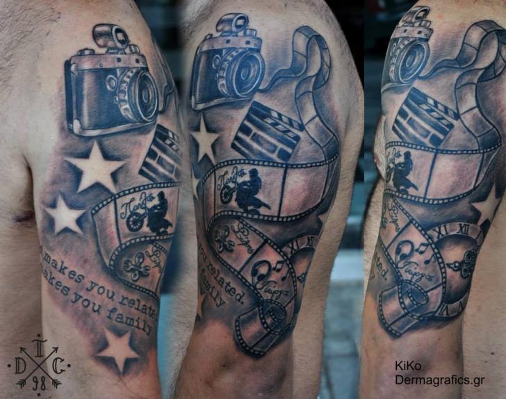 shoulder camera tattoo by dermagrafics. Black Bedroom Furniture Sets. Home Design Ideas