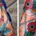 Arm Old School Butterfly Clepsydra tattoo by Love Life Tattoo
