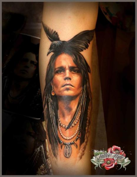 Arm Realistic Indian Crow Tattoo By Style Tattoo