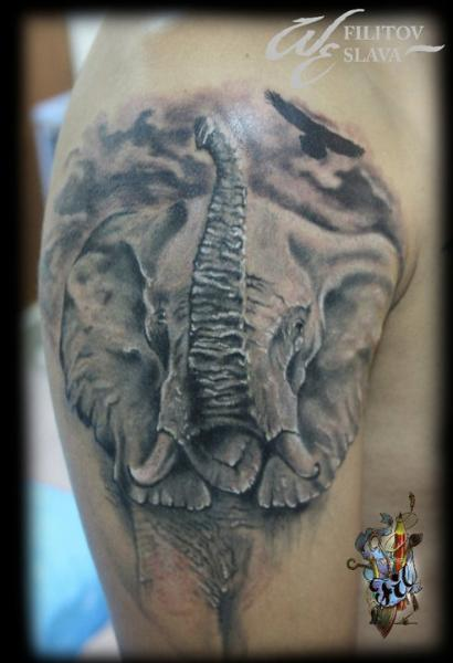 schulter realistische elefant tattoo von west end studio. Black Bedroom Furniture Sets. Home Design Ideas