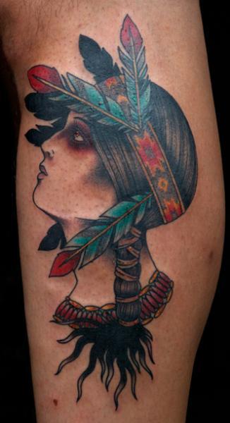 Old School Leg Indian Tattoo by Saved Tattoo