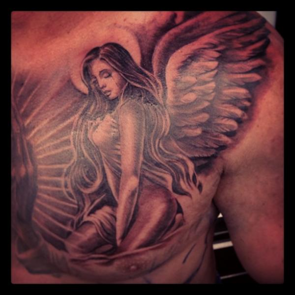 Fantasy Chest Angel Tattoo by Steve Soto