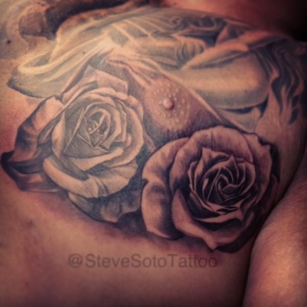 Realistic Chest Flower Rose Tattoo By Steve Soto
