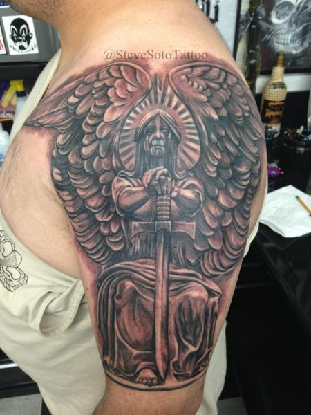 Shoulder Fantasy Angel Tattoo by Steve Soto