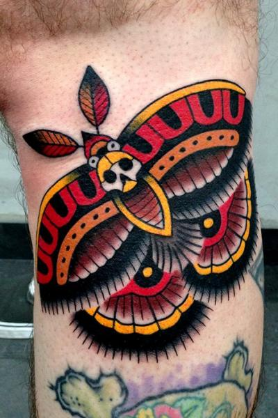 arm old school moth tattoo by montalvo tattoos. Black Bedroom Furniture Sets. Home Design Ideas