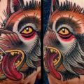Old School Hand Wolf tattoo by Montalvo Tattoos