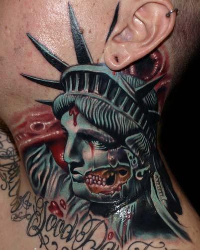 Statue Liberty Neck Blood Tattoo by Tattoo by Roman