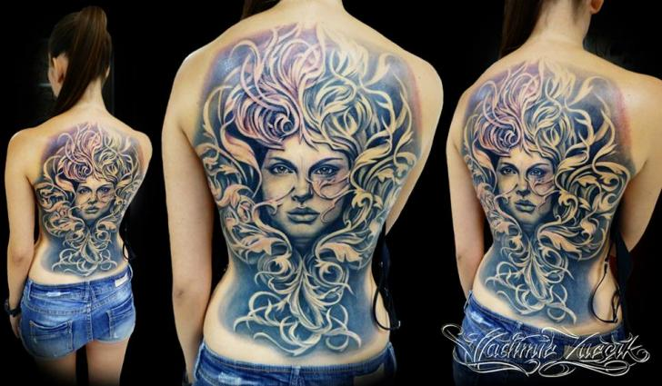 Portrait Back Leaf Tattoo By Tattoo Rascal