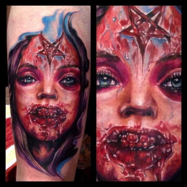 Arm fantasy blood zombie tattoo by ron russo for Zombie tattoo machine
