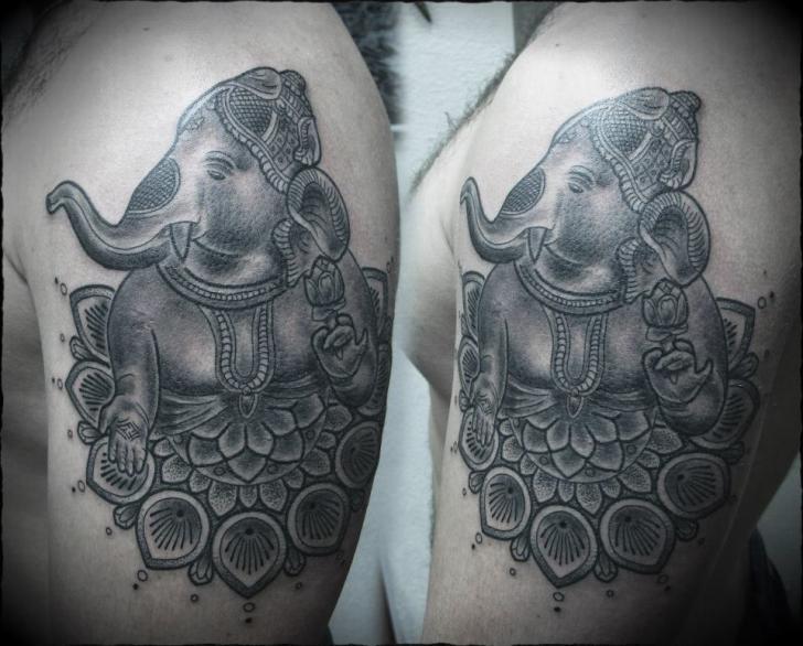 shoulder religious dotwork tattoo by ivan hack. Black Bedroom Furniture Sets. Home Design Ideas