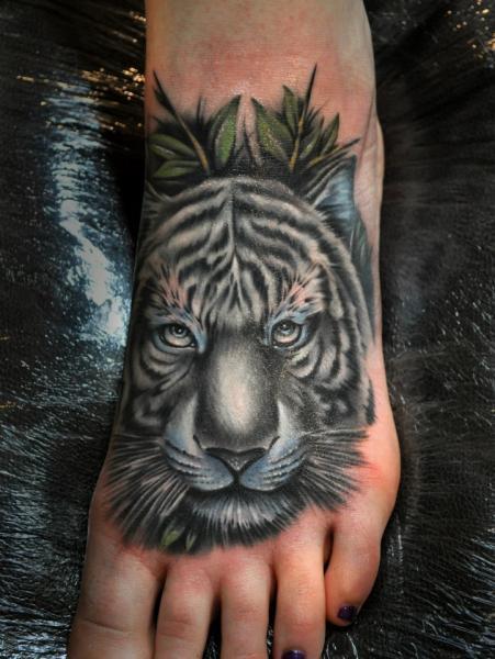 realistic foot tiger tattoo by benjamin laukis. Black Bedroom Furniture Sets. Home Design Ideas