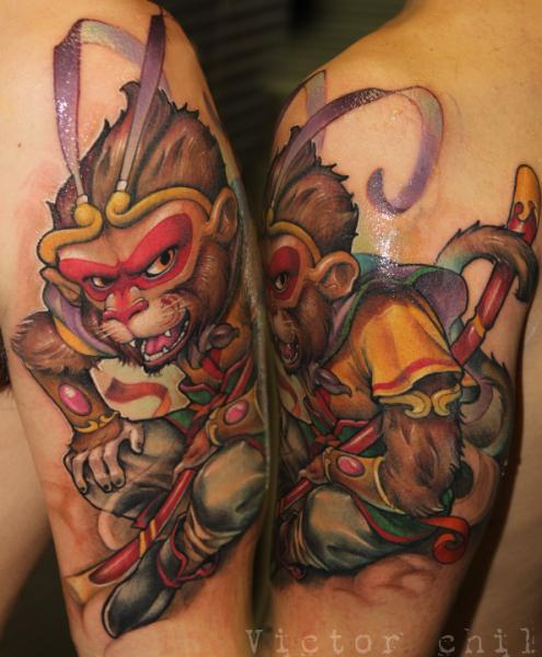 arm fantasy monkey tattoo by victor chil. Black Bedroom Furniture Sets. Home Design Ideas