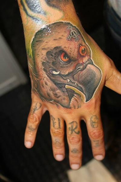 New school hand vulture tattoo by victor chil for Vulture tattoo meaning