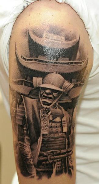 shoulder realistic samurai pagoda tattoo by radical ink