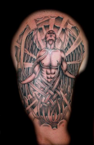 Shoulder Fantasy Angel Tattoo by Fatink Tattoo