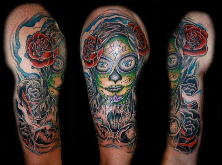 schulter mexikanischer totenkopf tattoo von fatink tattoo. Black Bedroom Furniture Sets. Home Design Ideas
