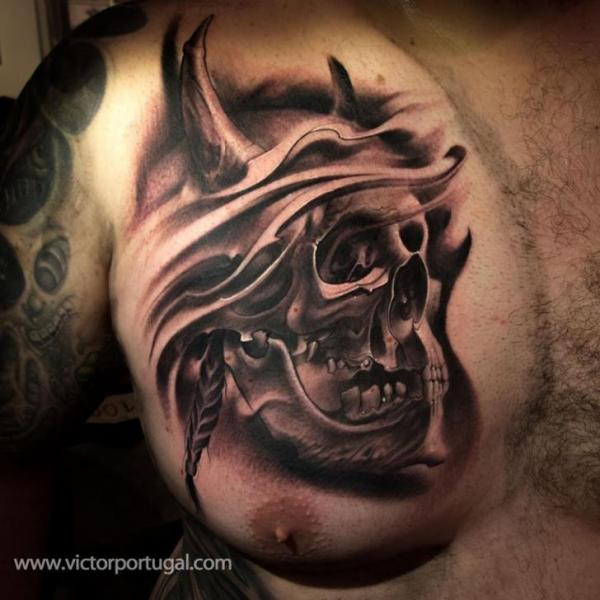Chest Skull Tattoo by Victor Portugal