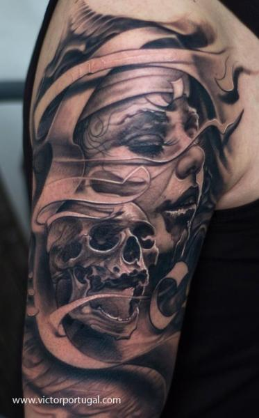 shoulder skull women tattoo by victor portugal. Black Bedroom Furniture Sets. Home Design Ideas