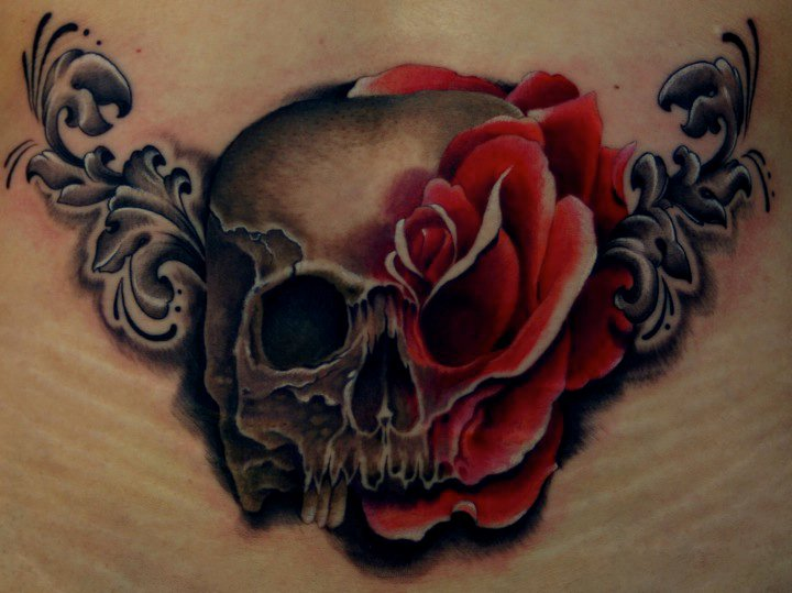 blumen totenkopf rose tattoo von tim mc evoy. Black Bedroom Furniture Sets. Home Design Ideas