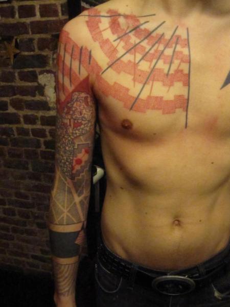 arm brust dotwork tattoo von kostek stekkos. Black Bedroom Furniture Sets. Home Design Ideas