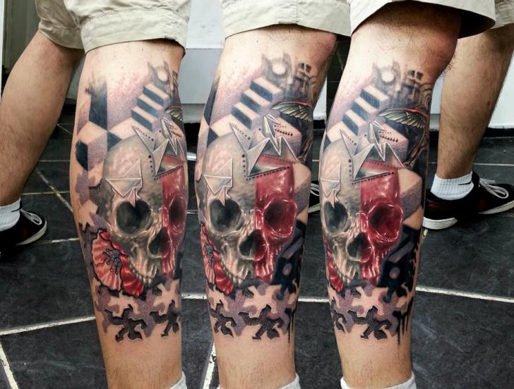 Leg skull tattoo by kronik tattoo for Skull leg tattoos