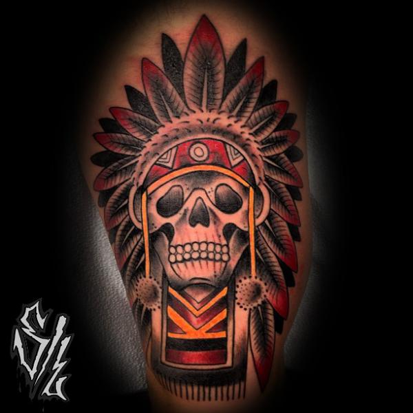 Arm Old School Skull Indian Tattoo by Sketchy Lawyer