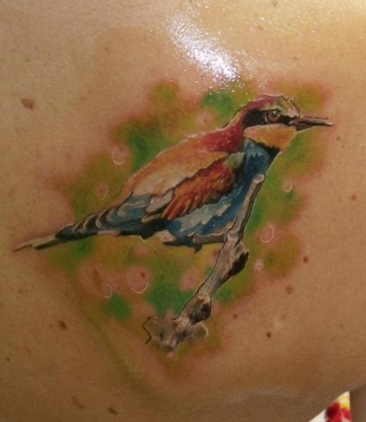 Realistic chest bird tattoo by qrucz tattoo for Realistic bird tattoo