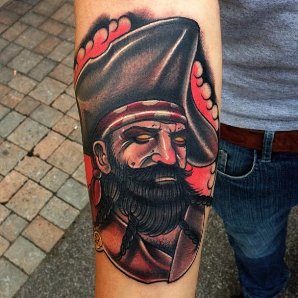 Arm Old School Pirate ... Traditional Pirate Tattoo Sleeve