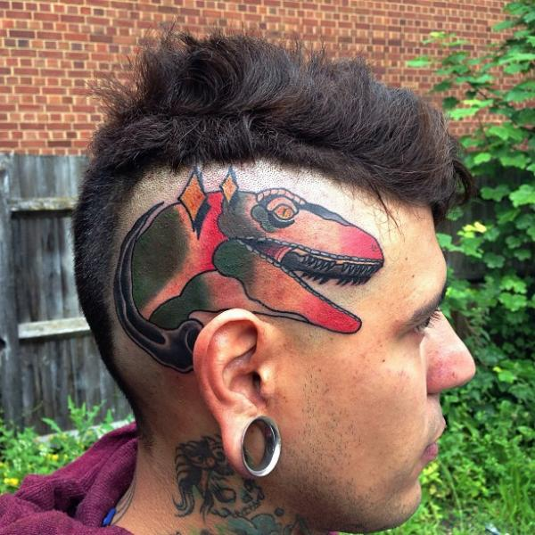 New School Head Dinosaur Tattoo By Mike Stocklings